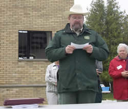 Hiawatha National Forest Supervisor Tom Schmidt addresses the group during the WATA awards reception.