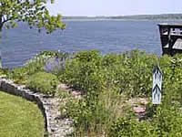 Picture of a garden along a shoreline.