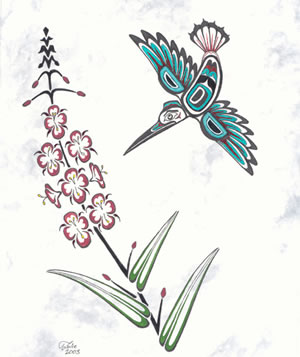Tsimshian-Styled Hummingbird and fireweed painting.