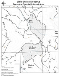 Little Shasta Meadow Botanical Special Interest Area map.