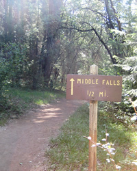 Middle Fall one-half mile trail sign.