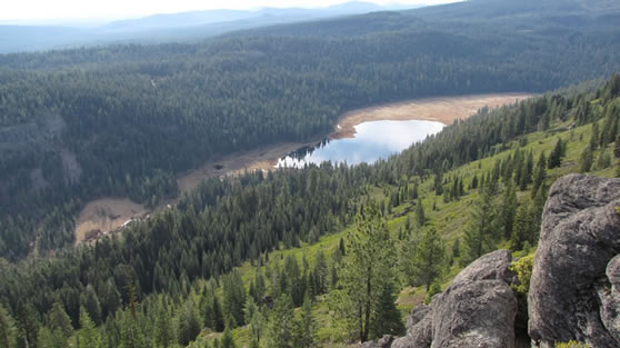 View of Willow Lake from Kelly Mountain in the fall.