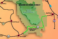 Map of a portion of the Bighorn National Forest displaying the roads in the Cloud Peak Skyway vicinity.
