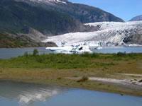 Mendenhall Glacier flows into Mendenhall Lake.