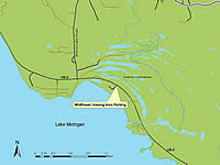 Pointe Aux Chenes Natural Area location map.