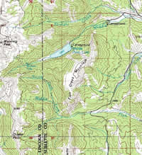 Topographic pap displaying the area around Middle Piney Lake.