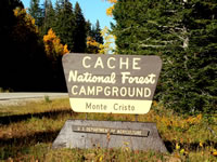 Cache Campground sign.