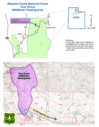 Thumnbail map and directions to the Viewing Area.