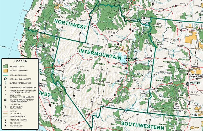 Intermountain Region map