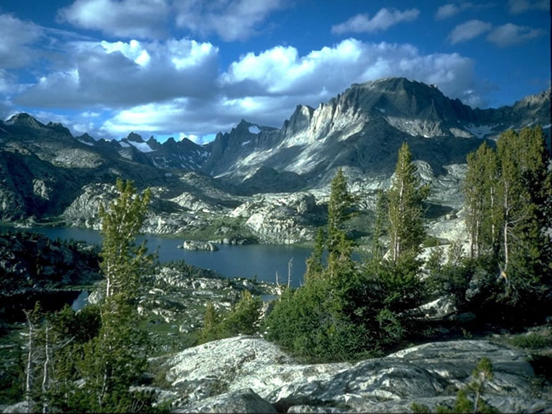 the Island Lake landscape in Wyoming's Wind River mountains on the Bridger-Teton National Forest.