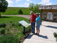 Visitors take in the pollinator garden at Buffalo Gap.