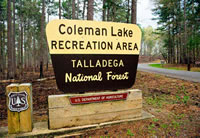 Coleman Lake Recreation Area sign.