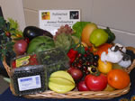 Basket of fruits and vegetables.
