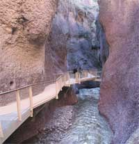 the catwalk, a walkway above the stream, in the narrowest part of Whitewater Canyon.
