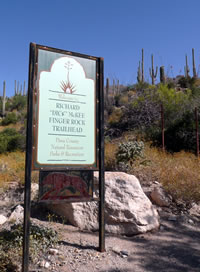 The Finger Rock Trailhead sign.
