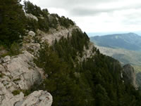 Thick layers of limestone underlie the Sandia Crest.