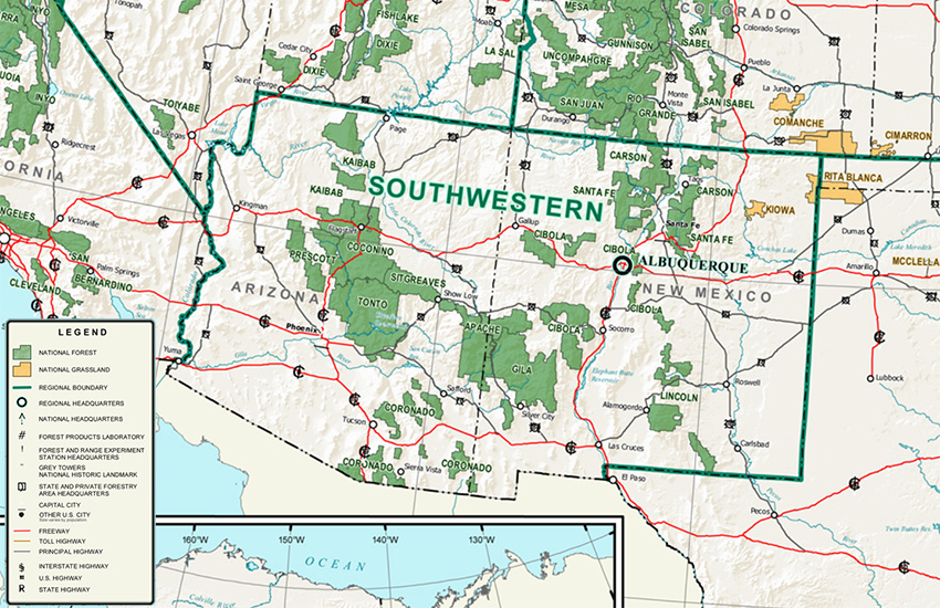 Southwestern Region map