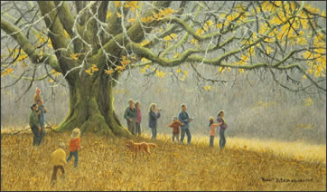 A painting titled Family Hike, has several children, adults and a dog playing.  The painting shows several generations of his family on a hike, near a bigleaf maple tree not far from his home.